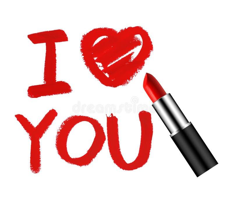 Ik houd van u lippenstiftconcept royalty-vrije stock foto