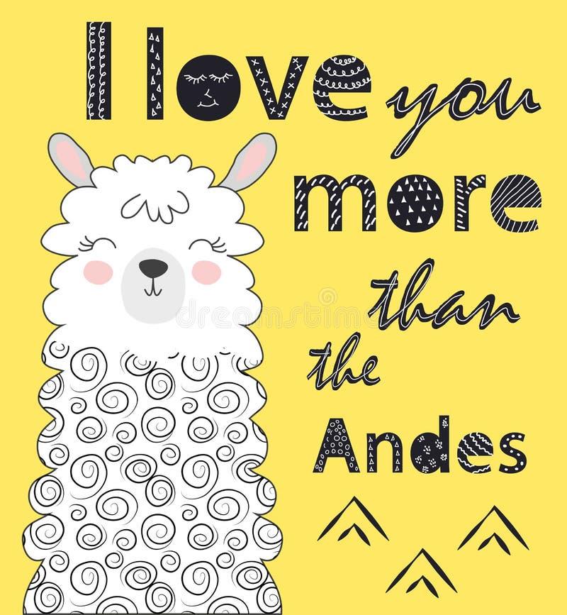 Ik houd van u meer dan de Andes Skandinavische stijlaffiche vector illustratie