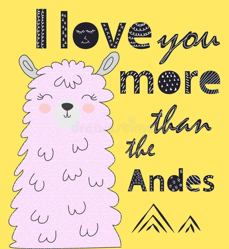 Ik houd van u meer dan de Andes Skandinavische stijlaffiche royalty-vrije illustratie