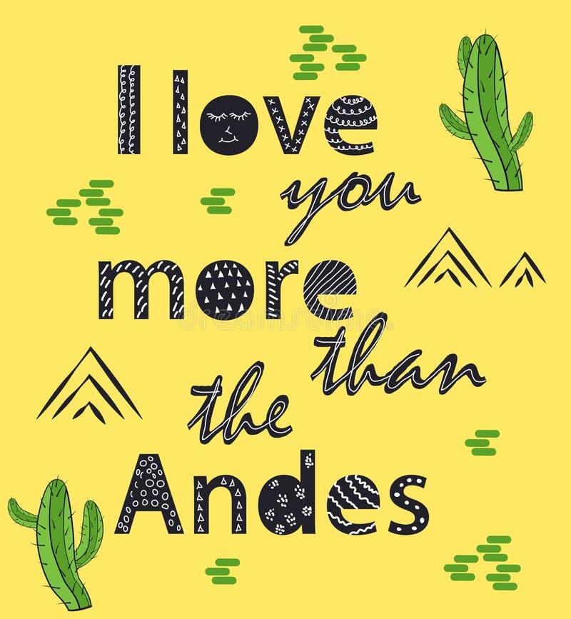 Ik houd van u meer dan de Andes Skandinavische stijlaffiche stock illustratie
