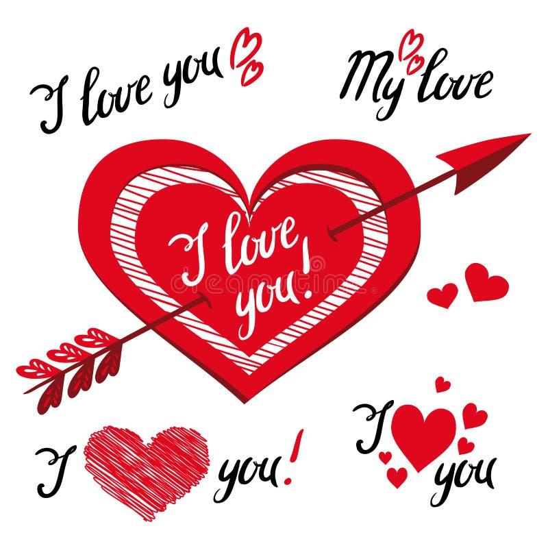 Ik houd van u - romantische vectorelementen voor ontwerp met typografie royalty-vrije illustratie