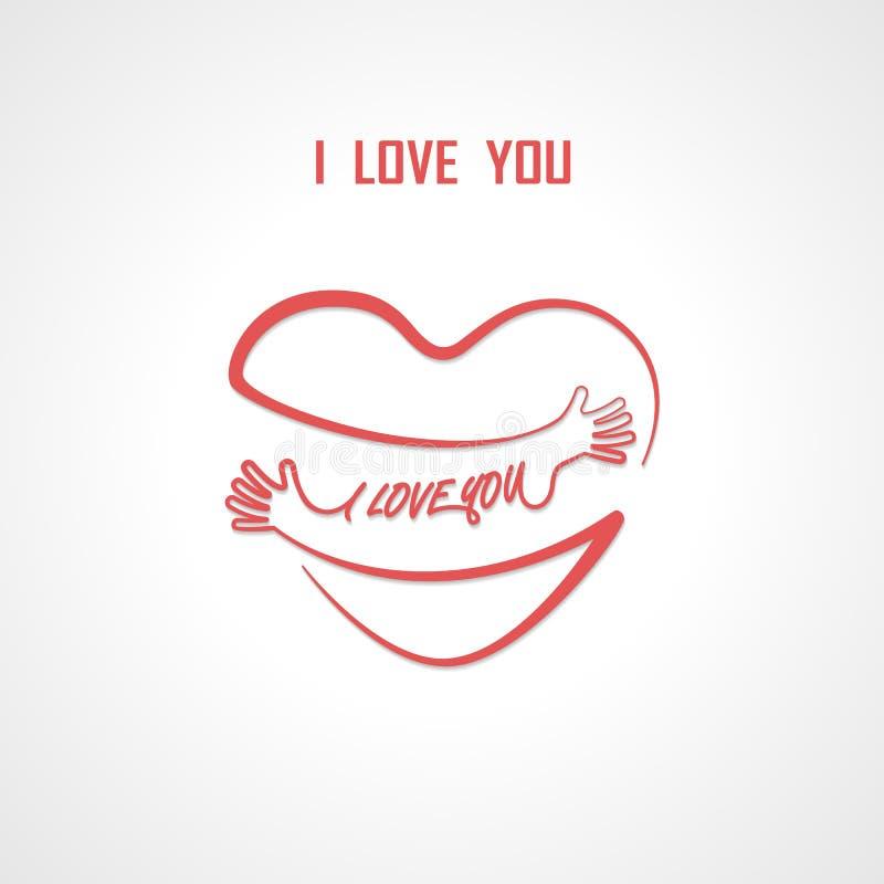 Ik houd van u typografische ontwerpelementen en het Rode verstand van de hartvorm vector illustratie