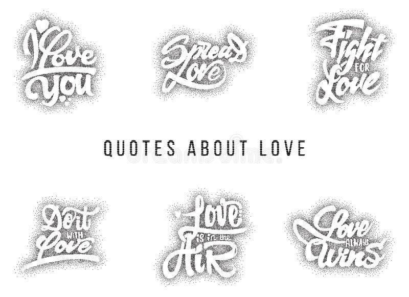 Ik houd van u, uitgespreid, strijd voor, doe het met, wat, altijd wint Hand-van letters voorziende tekst stock illustratie