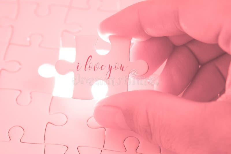 Ik houd van u verwoord op roze puzzel die holding door de handen zijn stock afbeelding
