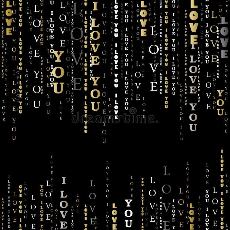 Ik houd van u woorden zwarte achtergrond stock illustratie