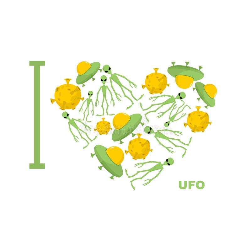Ik houd van UFO Symboolhart van humanoid, vreemde en ruimteschotel vector illustratie