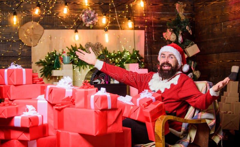 Ik kan er niet in geloven gelukkig nieuwjaar Huidige doos met Xmas winterwinkelen Erg hoffelijk cadeau voor kerstmis stock foto's