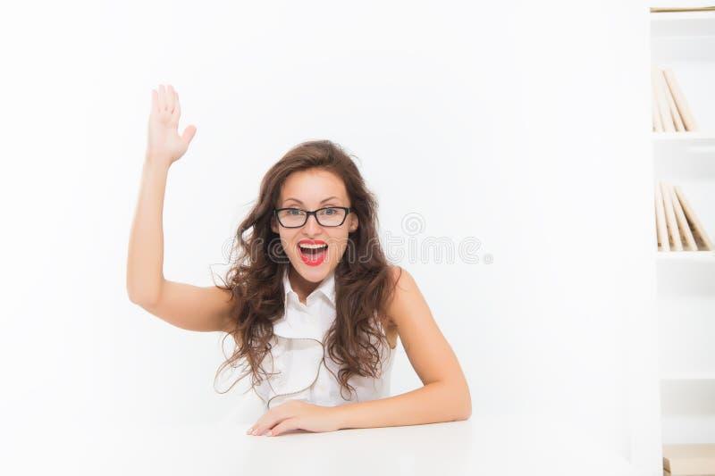 Ik ken juist antwoord De aantrekkelijke leraar van vrouwenoogglazen Bedrijfsdame aantrekkelijke secretaresse Commerci?le academie stock fotografie