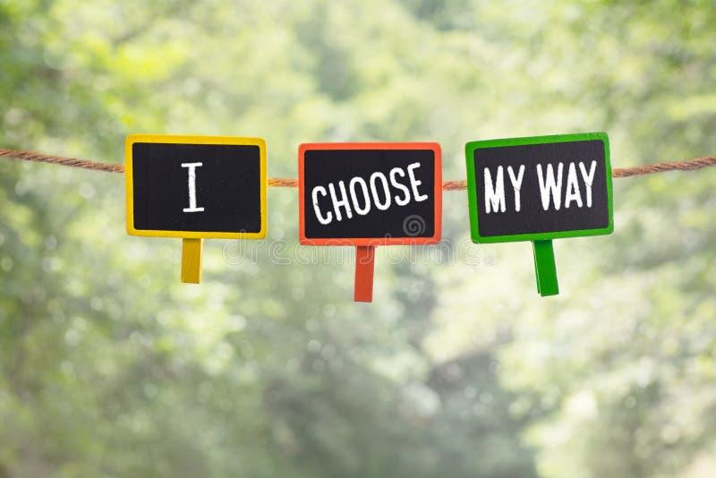 Ik kies aan boord mijn manier stock afbeelding