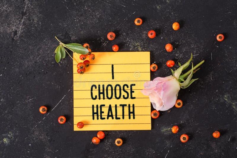 Ik kies gezondheidstekst in memorandum royalty-vrije stock foto