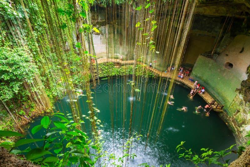 Ik-Kil Cenote cerca de Chichen Itza imágenes de archivo libres de regalías