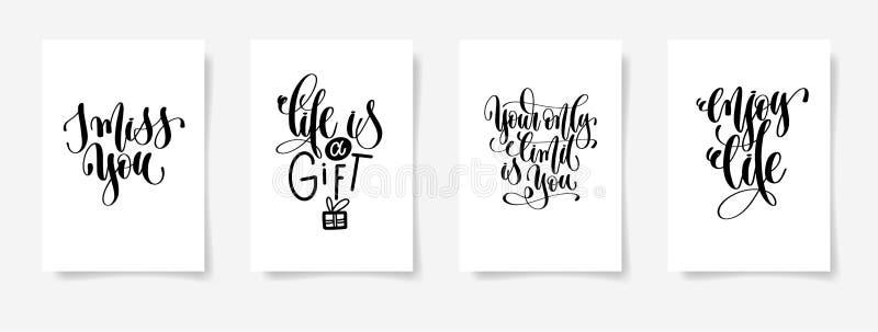 Ik mis u, is het leven een gift, is uw enige grens u, geniet van het leven vector illustratie