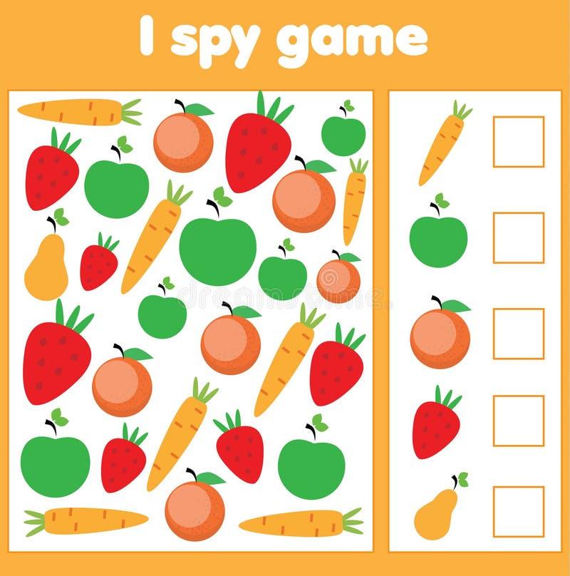Ik spioneer spel voor peuters Vind en tel groenten en vruchten Kinderen onderwijsspel, studiemethematics stock illustratie
