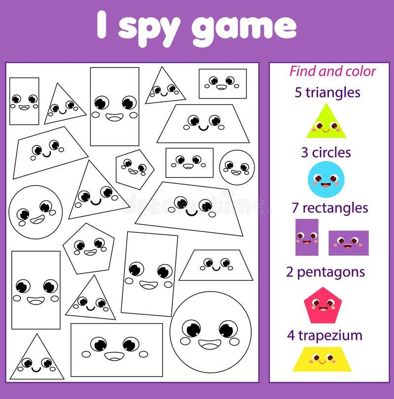 Ik spioneer spel voor peuters Vind en tel voorwerpen Onderwijsactiviteit voor kinderen Lerende geometrische vormen royalty-vrije illustratie