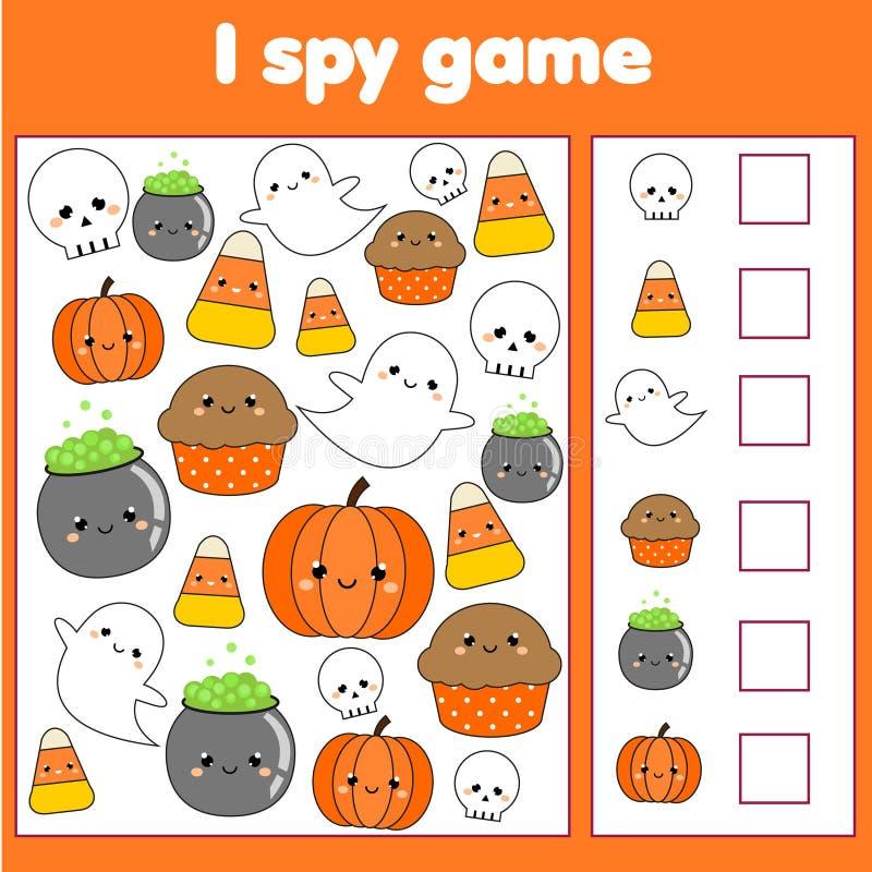 Ik spioneer spel voor peuters Vind en tel voorwerpen Tellende onderwijskinderenactiviteit Een groot spinneweb vóór een bizarre he royalty-vrije illustratie