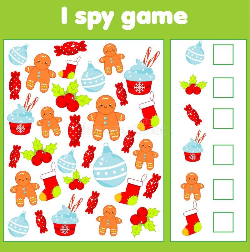 Ik spioneer spel voor peuters Vind en tel voorwerpen Tellende onderwijskinderenactiviteit Kerstmis en het nieuwe thema van de jaa stock illustratie