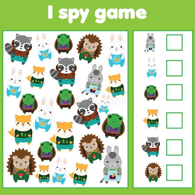 Ik spioneer spel voor peuters Vind en tel voorwerpen Tellende onderwijskinderenactiviteit Leuke dieren royalty-vrije illustratie