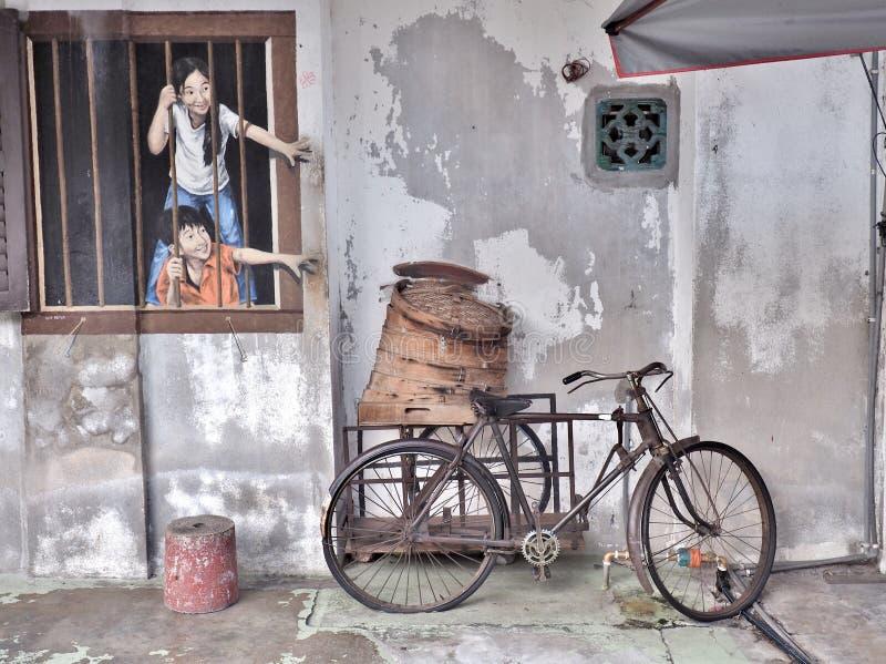 Ik WIL BAO, de kunst van de muurschilderingstraat in de stad van Georgetown, Penang, Maleisië stock foto's