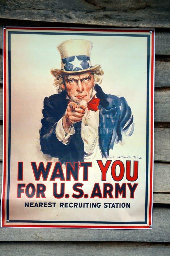 Ik wil u affiche Eerste Wereldoorlog stock foto