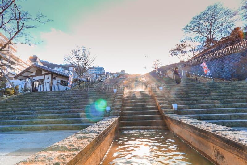 Ikaho Onsen el otoño es una ciudad de las aguas termales establecida en la pascua fotos de archivo