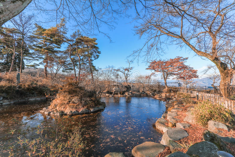 Ikaho Onsen na jesieni jest gorącej wiosny miasteczkiem lokalizować na Easter fotografia royalty free