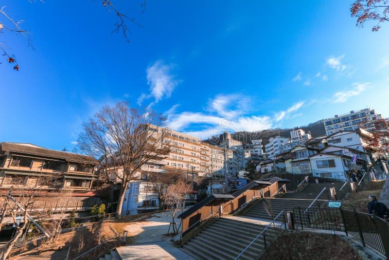 Ikaho Onsen op de herfst is een hete de lentestad die op de Pasen wordt gevestigd royalty-vrije stock foto's