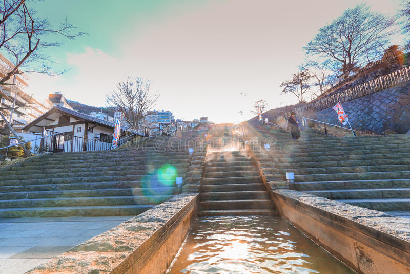 Ikaho Onsen op de herfst is een hete de lentestad die op de Pasen wordt gevestigd stock foto's
