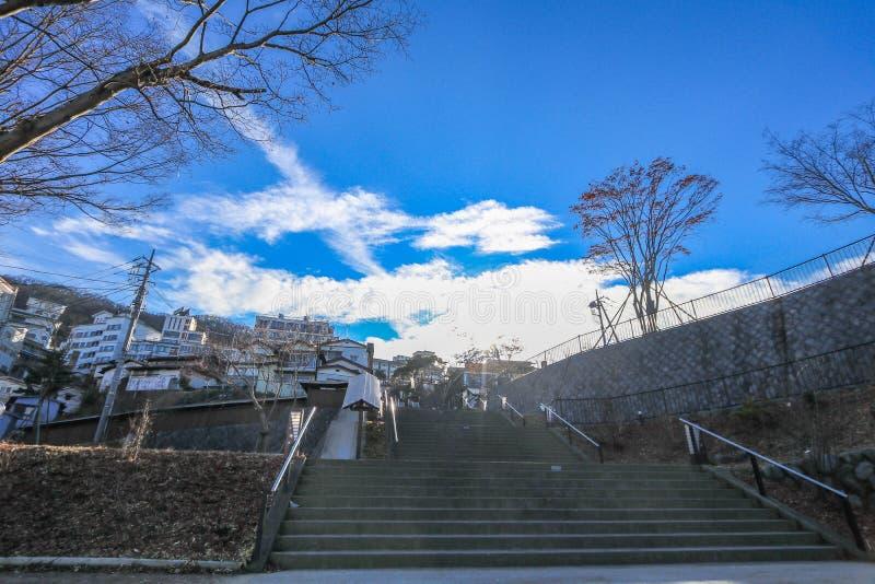 Ikaho Onsen op de herfst is een hete de lentestad die op de Pasen wordt gevestigd stock fotografie