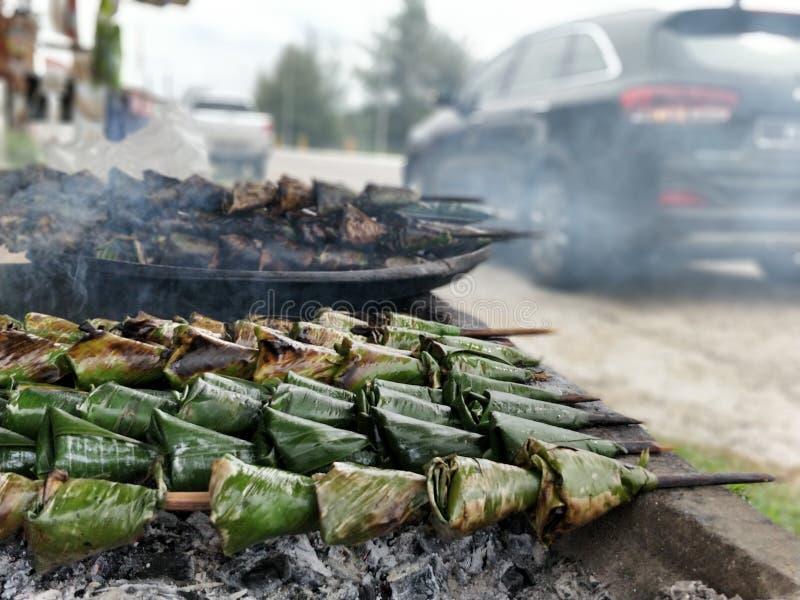 Ikan pepes or satar, sata. Ikan pepes, Malaysian food called satar or sata smoked and grill royalty free stock photos