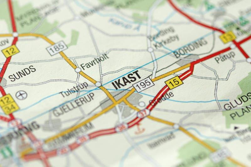 Ikast. Kongeriget Danmark. A paper map and roads on the map. Ikast. Kongeriget Danmark. A paper map and roads on the map stock images