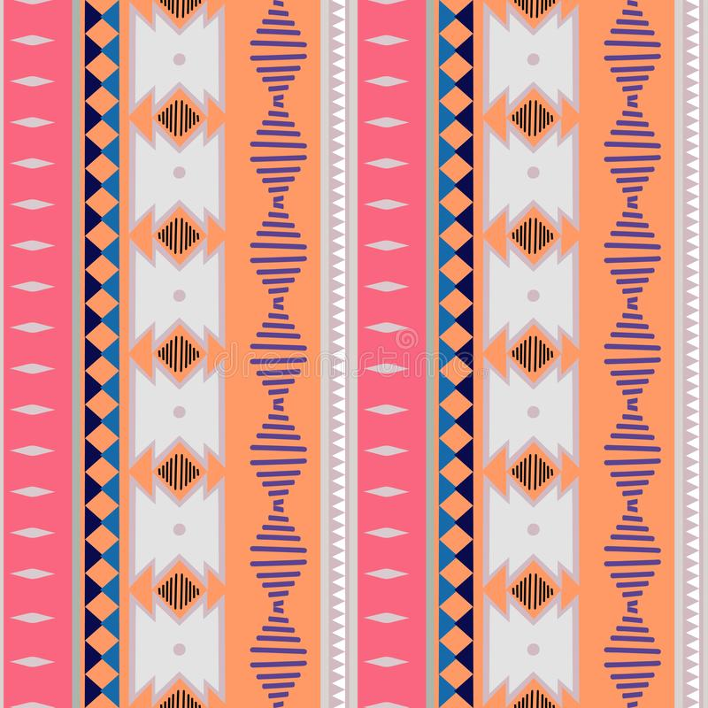 Ikat几何民间传说蜡染布装饰品 部族种族传染媒介纹理 在阿兹台克样式的无缝的条纹图形 部族的图 皇族释放例证