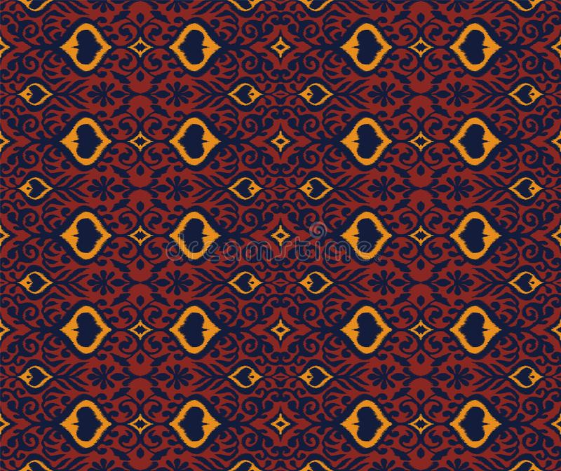 Ikat几何民间传说装饰品 东方传染媒介锦缎样式 向量例证