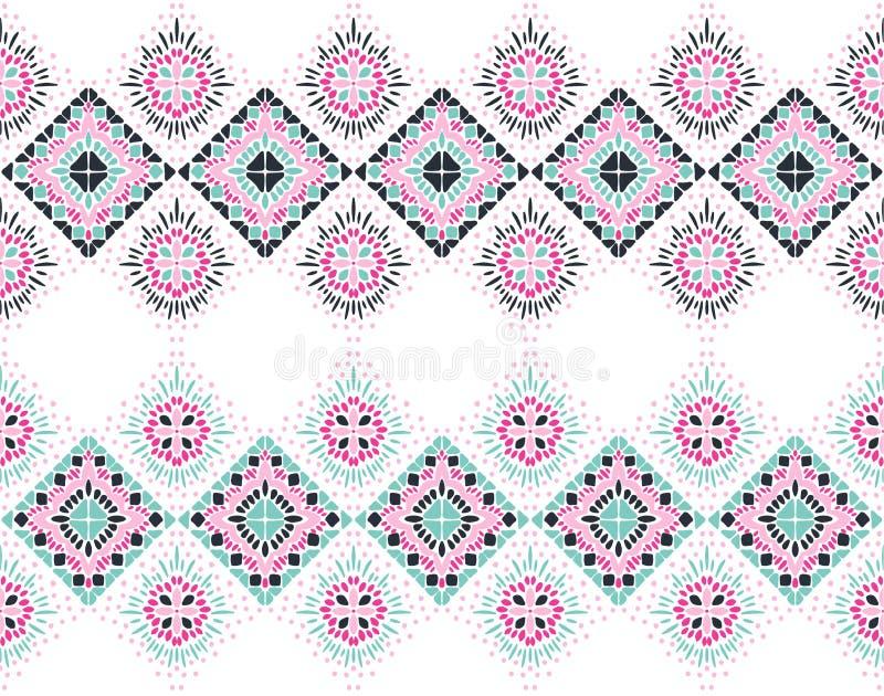 Ikat几何民间传说装饰品 部族种族传染媒介纹理 在阿兹台克样式的无缝的条纹图形 皇族释放例证