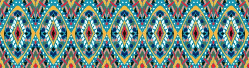 Ikat几何民间传说装饰品 部族种族传染媒介纹理 在阿兹台克样式的无缝的条纹图形 向量例证