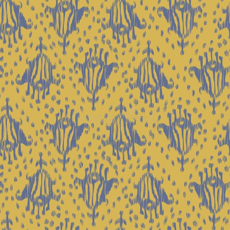 Ikat在水彩样式的无缝的漂泊种族灰色和黄色传染媒介样式 水彩ikat东方人装饰品 库存例证