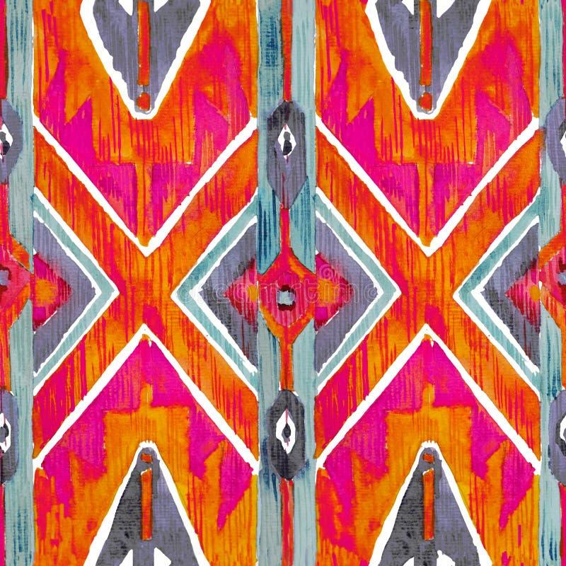 Ikat在水彩样式的几何红色和橙色地道样式 无缝的水彩 免版税库存照片