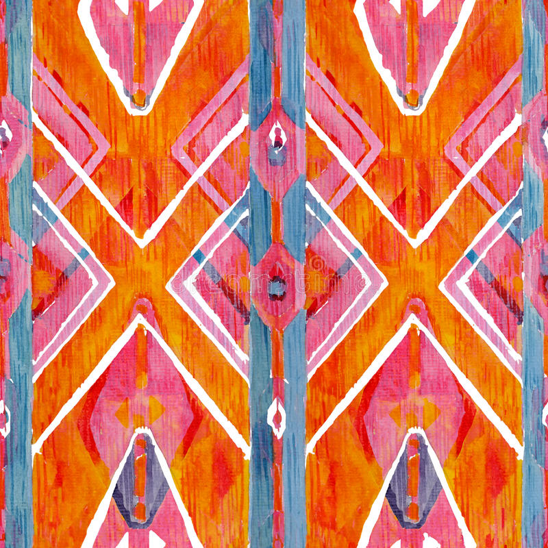 Ikat在水彩样式的几何红色和橙色地道样式 无缝的水彩 库存照片