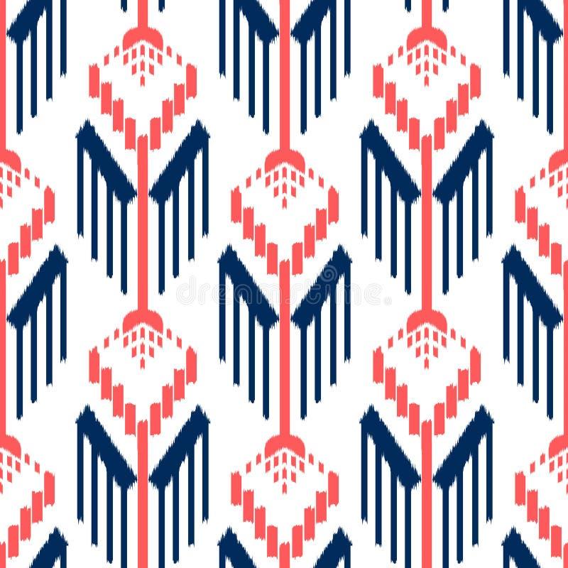 Ikat无缝的样式设计 种族织品 漂泊时尚 皇族释放例证