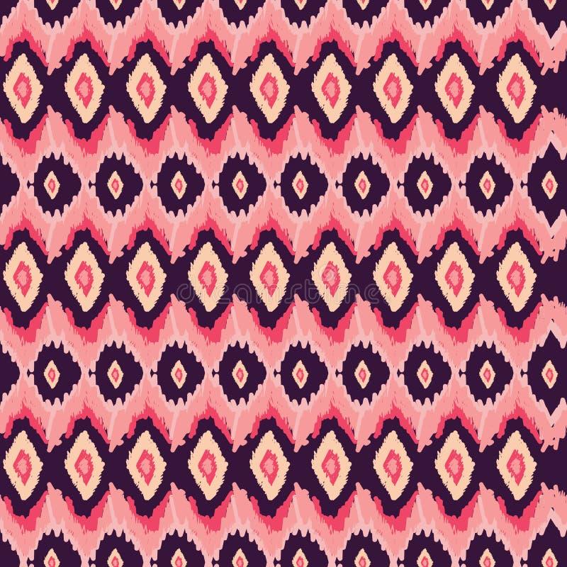 Ikat部族难看的东西装饰品 种族无缝的样式传染媒介设计 镶边阿兹台克民间样式 向量例证