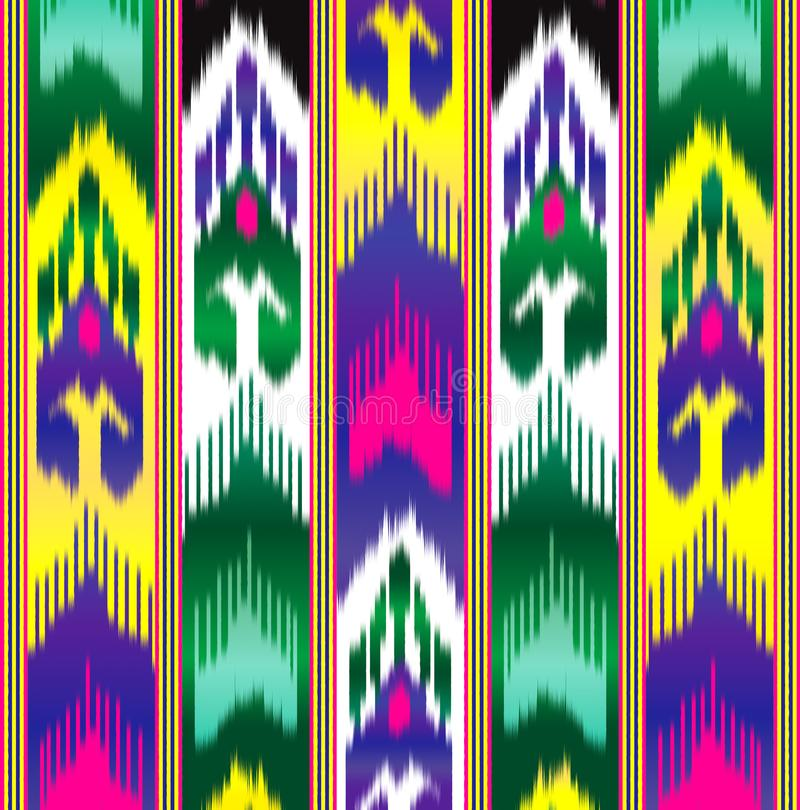 Ikat Eastern fabric. Asian pattern. Traditional national clothes. vector illustration