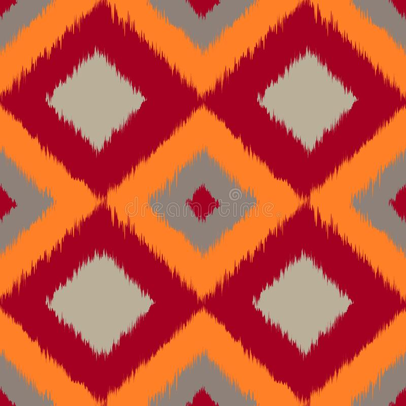 Ikat brown seamless pattern curtain, textile design, bed linen, wallpaper, surface texture background. royalty free stock photo