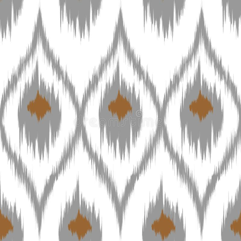 Ikat brown vector seamless pattern curtain, textile design, bed linen, wallpaper, surface texture background. royalty free stock photos