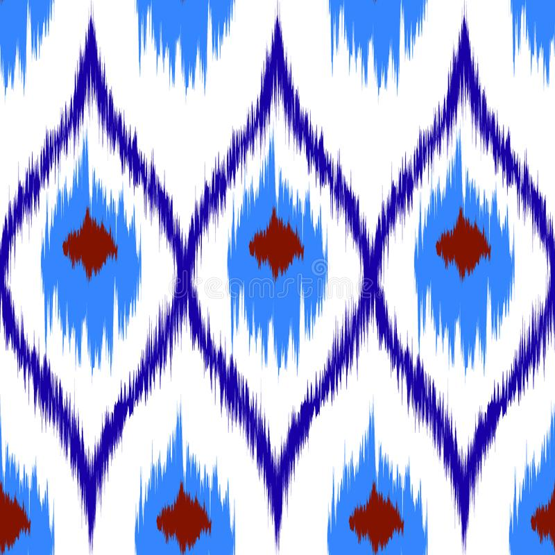 Ikat brown vector seamless pattern curtain, textile design, bed linen, wallpaper, surface texture background. stock images
