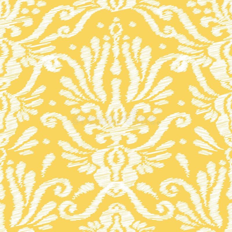 Ikat damast sömlös bakgrundsmodell royaltyfri illustrationer
