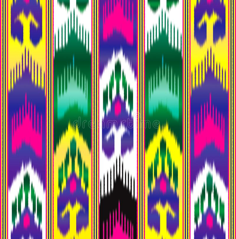 Ikat Eastern fabric. Asian pattern. Traditional national clothes. stock illustration