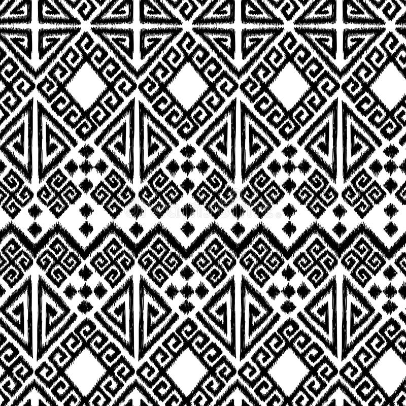 Ikat geometric. Tribal ikat geometric design, seamless repeat