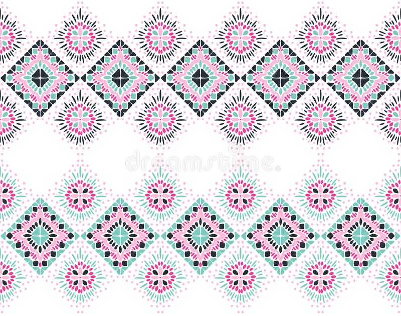 Ikat geometric folklore ornament. Tribal ethnic vector texture. Seamless striped pattern in Aztec style royalty free illustration