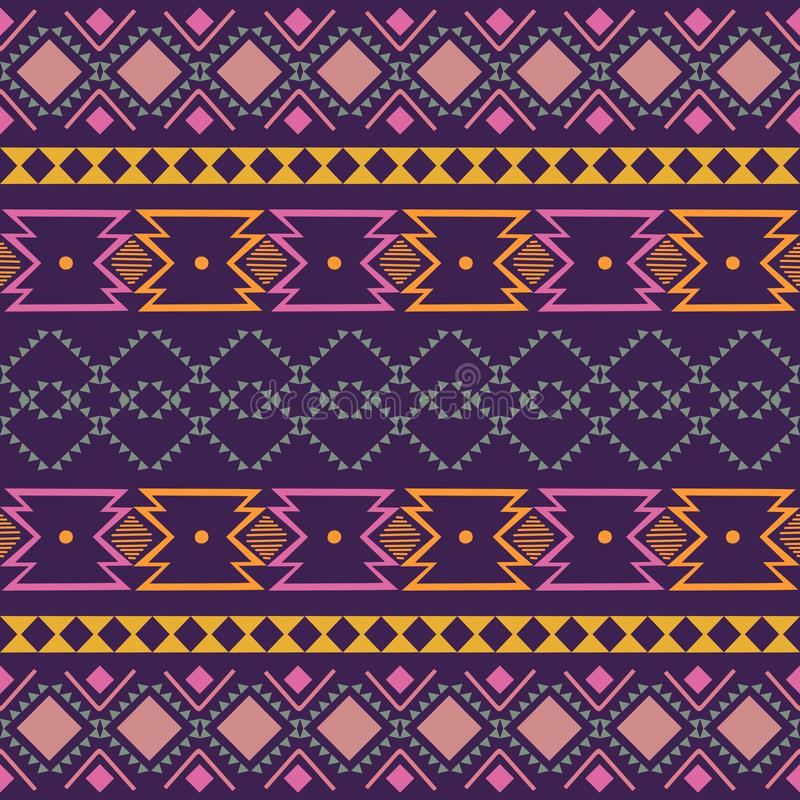 Free Ikat Geometric Folklore Ornament. Tribal Ethnic Vector Texture. Seamless Striped Pattern In Aztec Style. Figure Tribal Embroidery Royalty Free Stock Images - 142052189