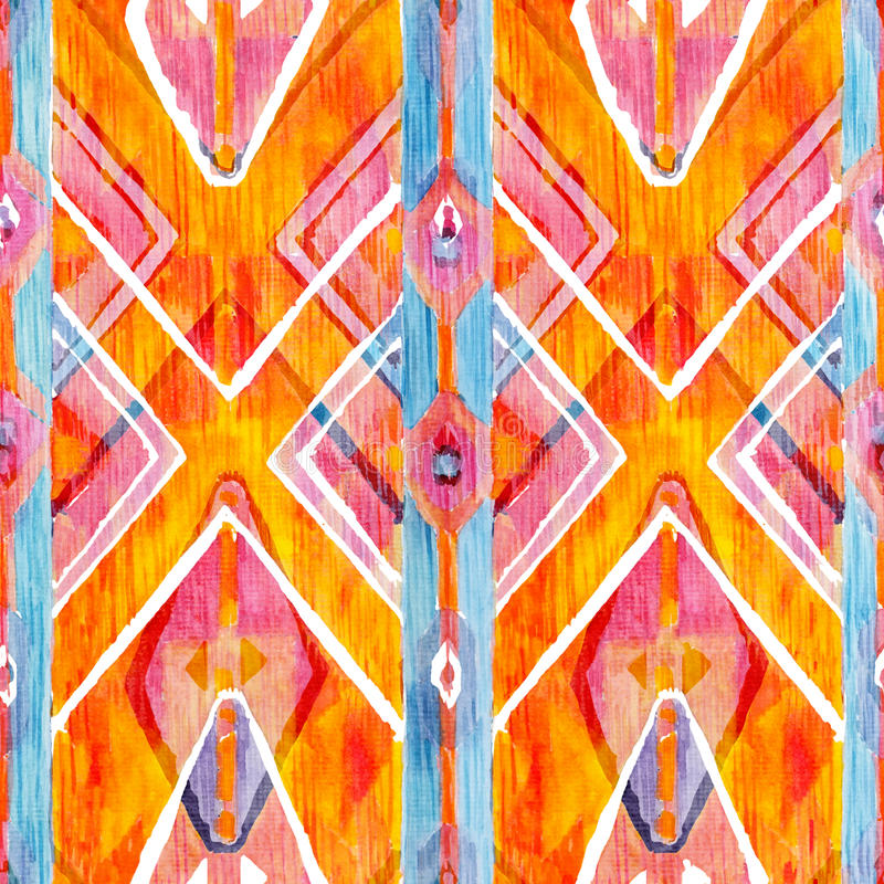 Ikat geometric red and orange authentic pattern in watercolour style. Watercolor seamless . royalty free stock image