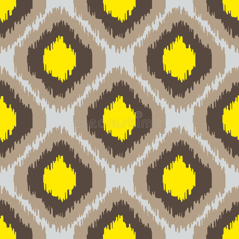 Ikat geometric seamless pattern. Yellow and brown collection. royalty free illustration
